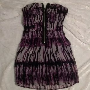 3/$15 Purple tie dye zip strapless dress w